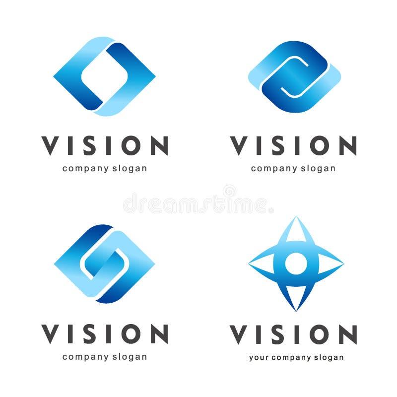 visione Insieme di logo dell'occhio Icone creative di media della macchina fotografica Video segni di controllo illustrazione di stock