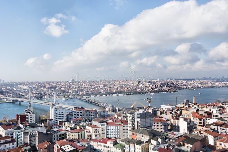 Visione su Istanbul e Bosforo dall'alto immagine stock