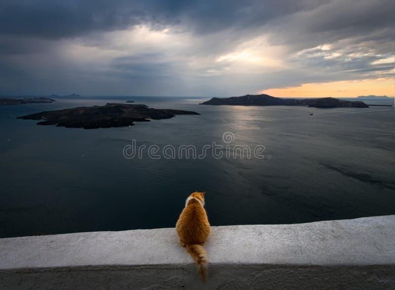 Visionnement du coucher du soleil La Grèce La Grèce photo libre de droits