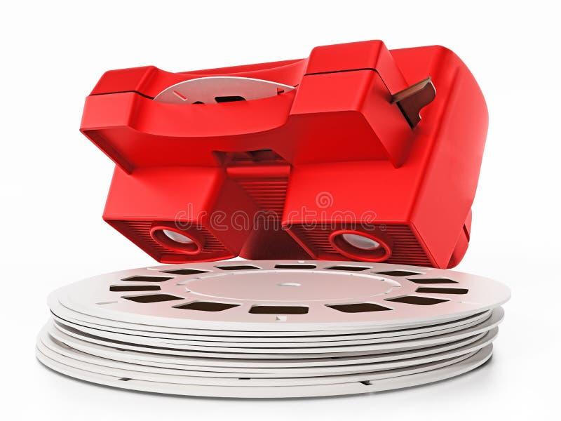 Visionneuse de glissière rouge du vintage 3D d'isolement sur le fond blanc illustration 3D illustration de vecteur