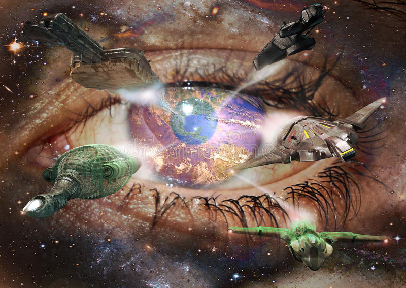 Visions of the future. A diffuse eye in the space. The cornea of the eye is the Earth where from come several futuristic spaceships royalty free illustration