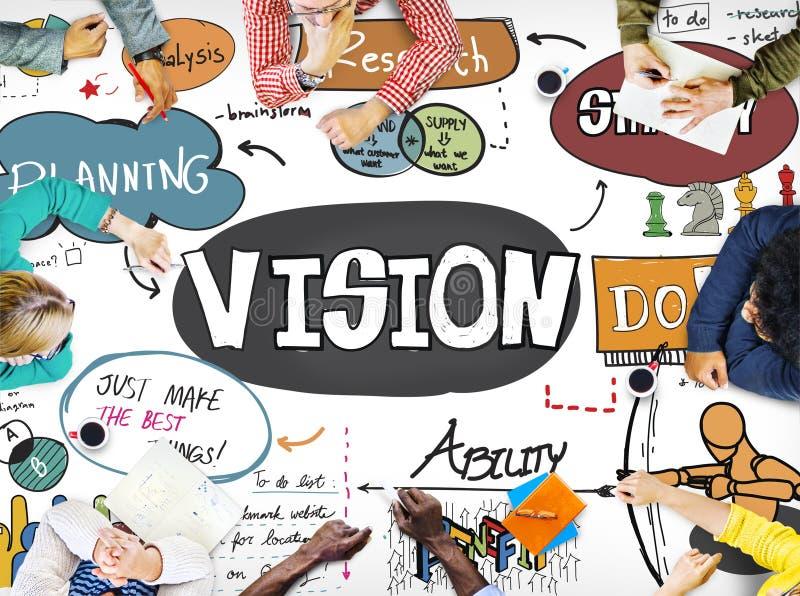 Visions-Geschäftsstrategie-Forschungs-Zeichnungs-Konzept stock abbildung