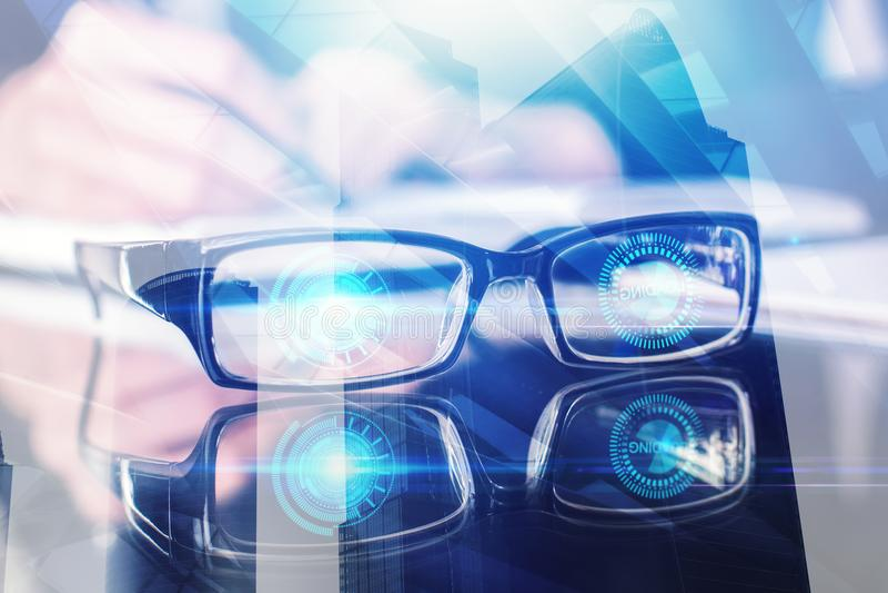 Visions-, Technologie- und Zukunftkonzept lizenzfreies stockfoto