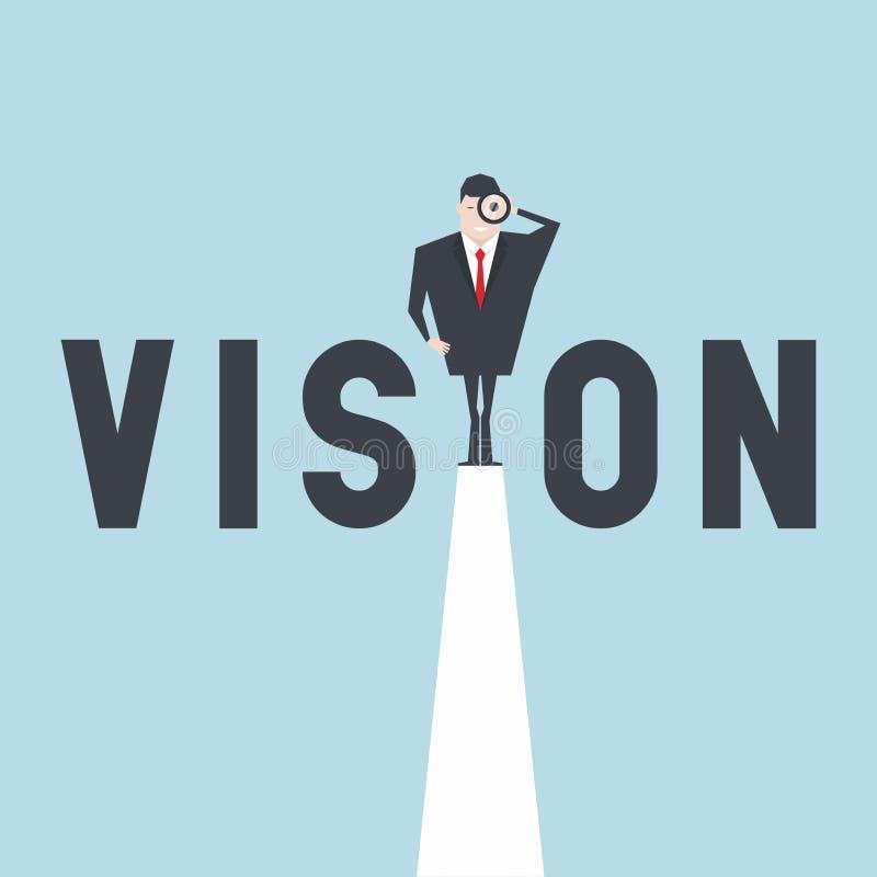 Visionskonzept mit dem Geschäftsmann, der durch Teleskop von einer Klippe schaut vektor abbildung