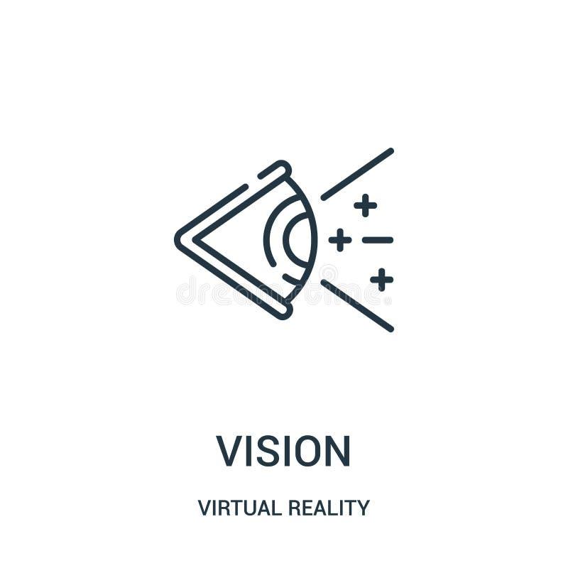 visionsymbolsvektor från virtuell verklighetsamling Tunn linje illustration f?r vektor f?r vision?versiktssymbol stock illustrationer