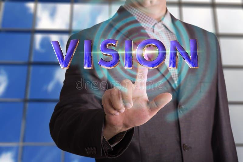 Visiontext med affärsmannen royaltyfri fotografi