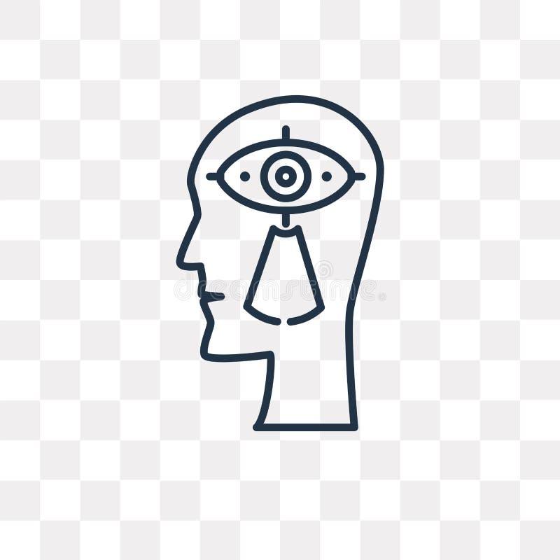 Visionvektorsymbol som isoleras på genomskinlig bakgrund, linjär VI stock illustrationer