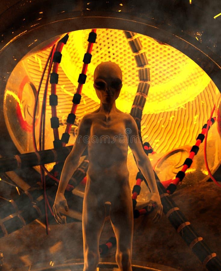Visit of an Alien vector illustration