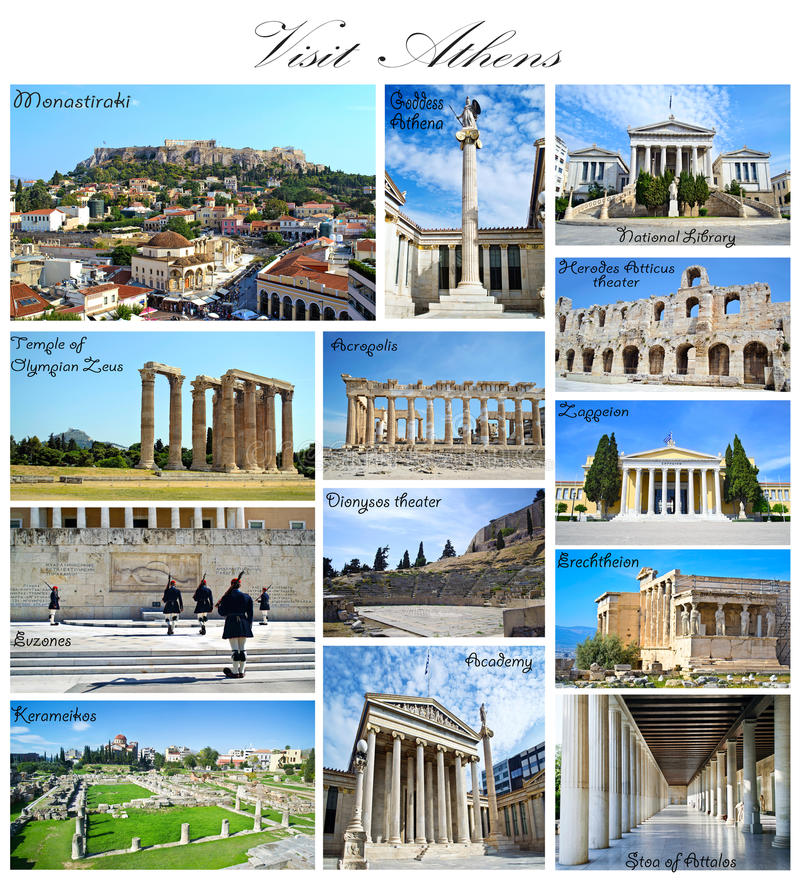 Visit Athens Greece collage stock photography