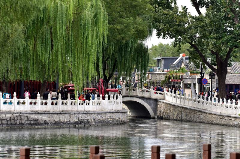 Visit Beijing Shichahai in the autumn. Shichahai is located in the northwest corner of Beijing City, including Qianhai, Houhai and the West also called Jishuitan royalty free stock images