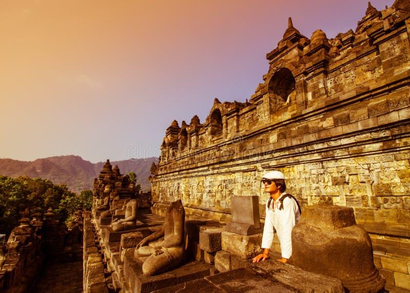 Visit Borobudur. Tourist visit Borobudur in Yokyakarta,Indonesia royalty free stock photo