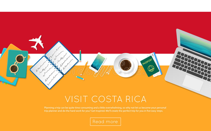 Visit Costa Rica concept for your web banner or. royalty free illustration