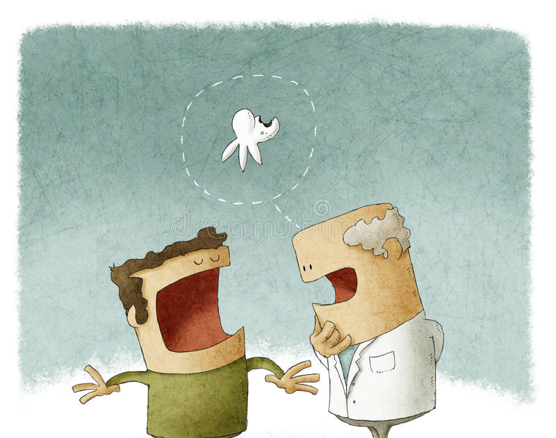 Visit at the dentist stock illustration