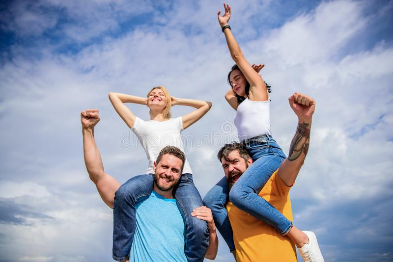 Visit famous festival during vacation. Rock music festival. Feel freedom. Dancing couples. Friends having fun summer. Open air festival. Men and women enjoy royalty free stock photography