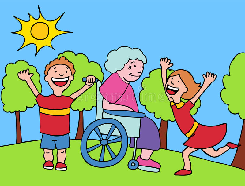 Visit with Grandma. A family image of grandma and grandchildren royalty free illustration