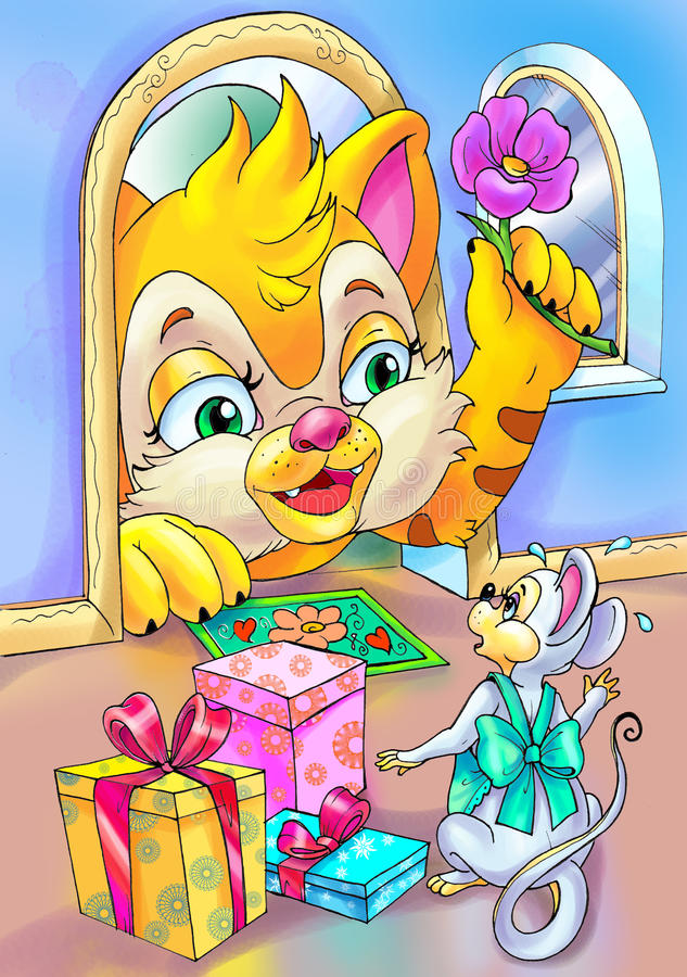 Download Cat Visits Mouse At The Day Of Her Birthday Stock Illustration - Image: 9585592