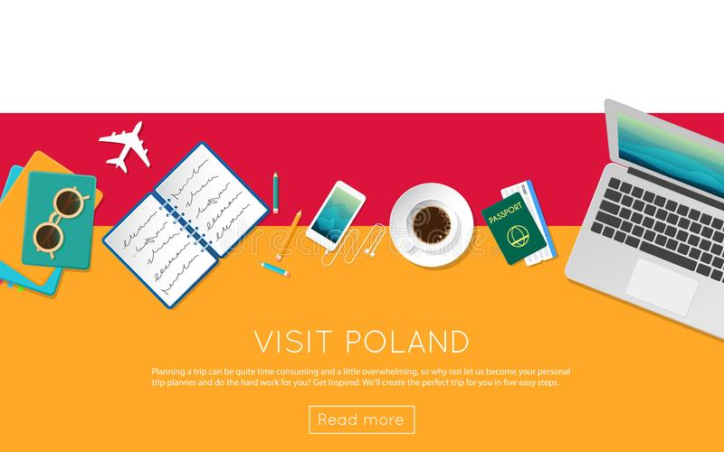 Visit Poland concept for your web banner or print. vector illustration