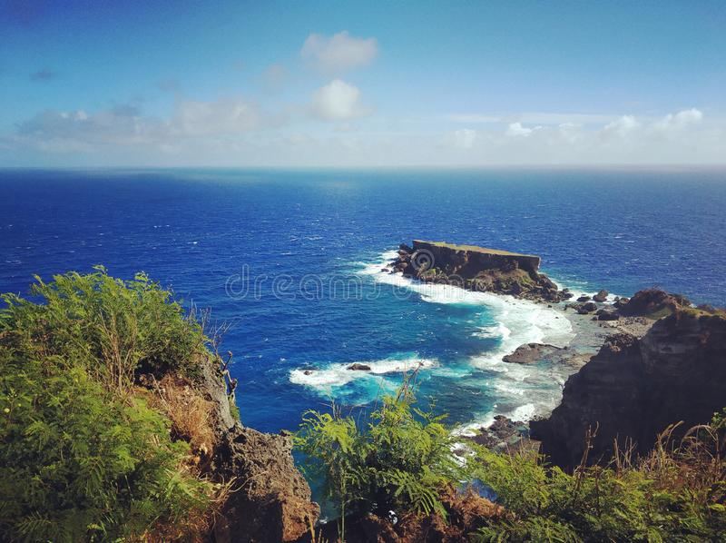 The Suicide Cliff in Saipan. Visit Suicide Cliff Toward the end of World War II, 3,000 Japanese soldiers and civilians jumped off this cliff located near the royalty free stock photos
