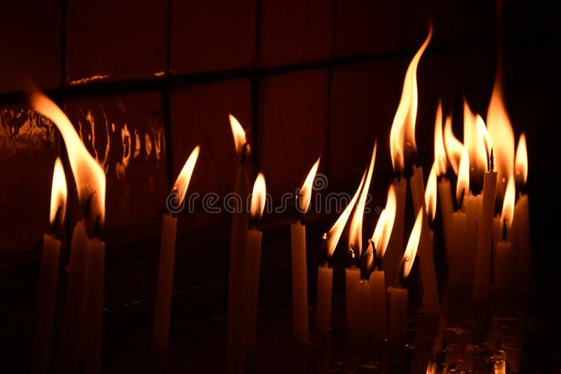 Visit the temple the church, to light the candles on the stand. Ä°STANBUL  Turkey stock images