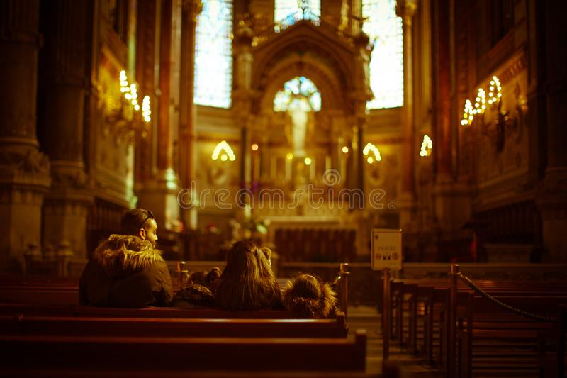 A visit to the Cathedral of notre dame de fouviere royalty free stock photos