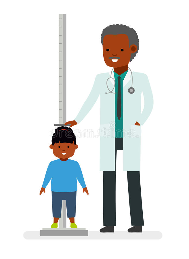 A visit to the doctor. The doctor measures the growth of the child girl patient. royalty free illustration