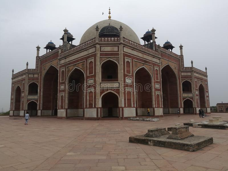 Visit to humayun's tomb stock photography