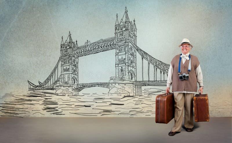 Visit to London. Happy senior woman tourist visiting London, travel concept royalty free illustration