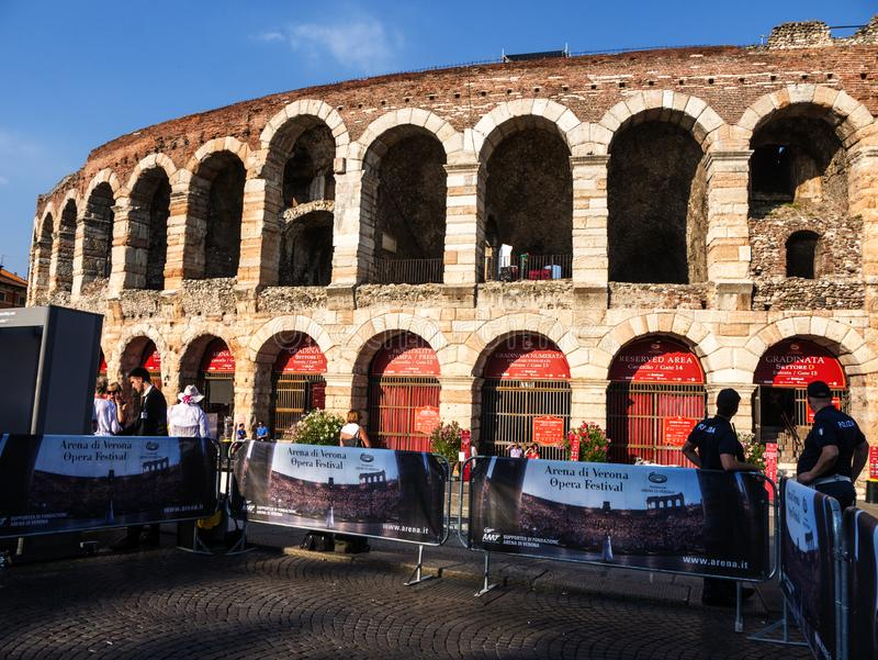 A visit to the opera in the Roman Amphitheatre in the city of Verona in Northern Italy is a unique and wonderful experience. The city hall is right next door royalty free stock image