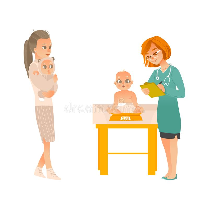 Visit to pediatrician set - mother with baby on hands and female doctor weighing child in office. Visit to pediatrician set - mother with baby on hands and vector illustration