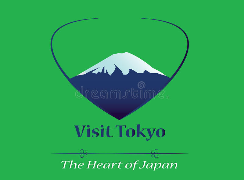 Visit Tokyo - The heart of Japan banner, logo, icon. Vector illustration EPS 10, green background. Big mountain, tourism motto royalty free illustration