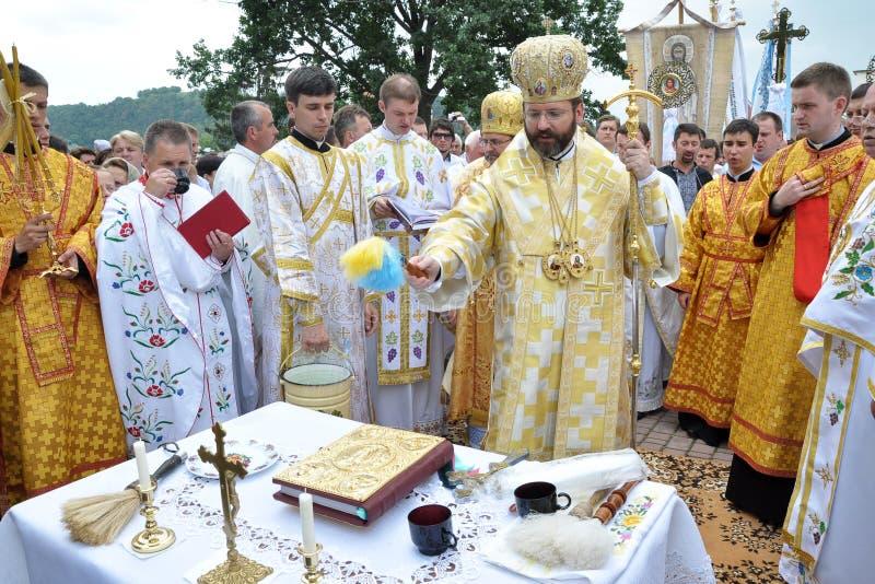 Visita al _28 di Sviatoslav Shevchuk della chiesa di capitolo di Chortkiv fotografia stock