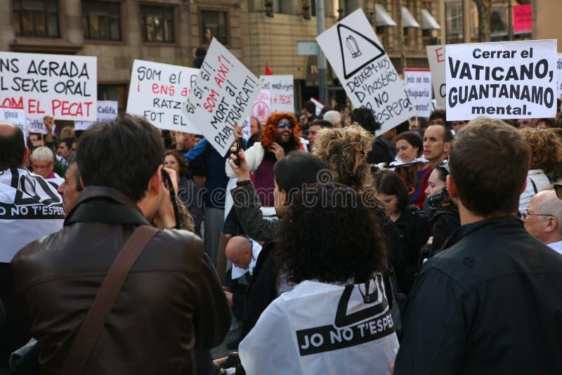 Download Visita Do Papa Da Demonstração, Barcelona Foto de Stock Editorial - Imagem de demonstrações, rally: 16857863
