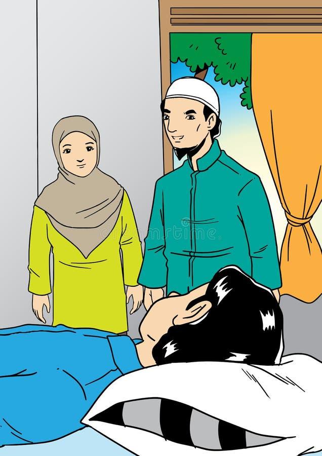 Visita muçulmana da família o parente doente ilustração do vetor
