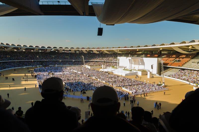 Visita papale negli Emirati Arabi Uniti nel 2019 immagini stock