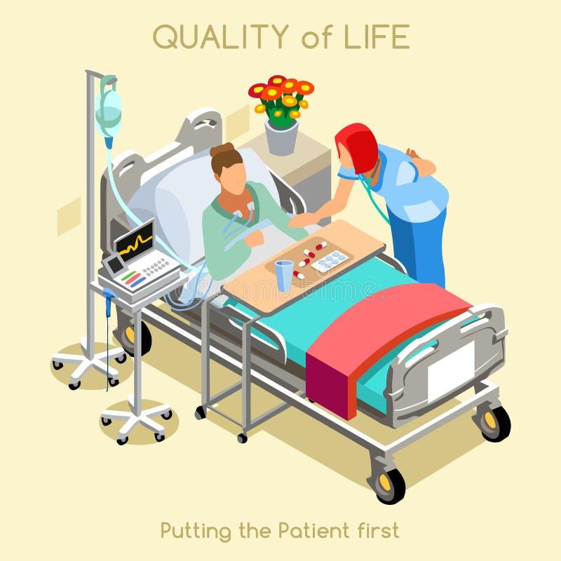 Visita paziente 02 persone isometriche illustrazione vettoriale