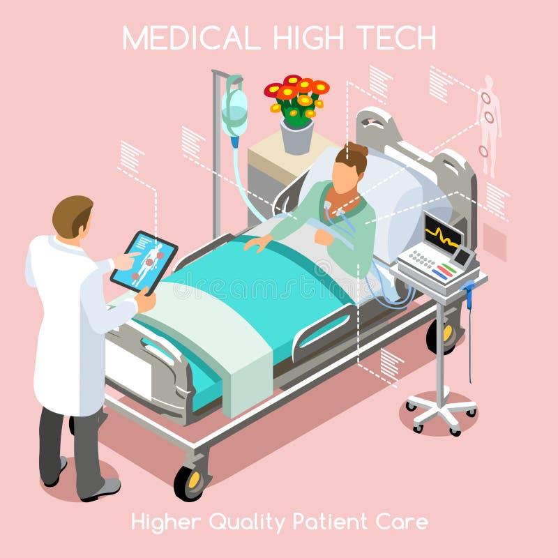 Visita paziente 03 persone isometriche illustrazione vettoriale