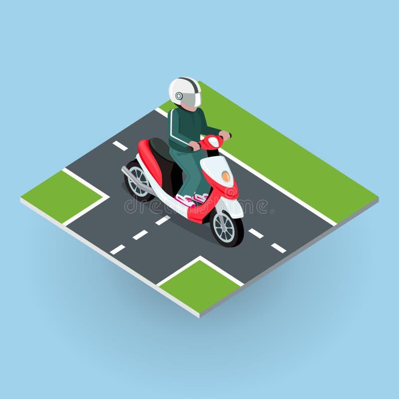 Visitando a bicicleta motorizada Bicicleta do motor na estrada ilustração stock