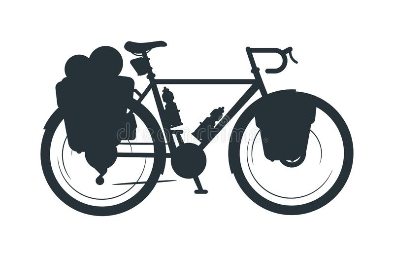 Visitando a ilustração da silhueta do vetor da bicicleta ilustração royalty free
