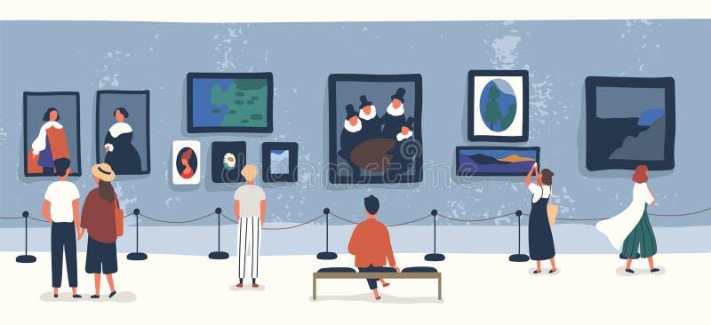 Visitantes de exibições clássicas da visão da galeria ou do museu de arte Povos ou turistas que olham pinturas na exposição homen ilustração do vetor