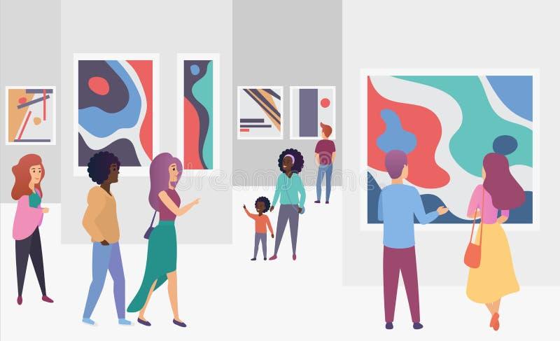 Visitantes de la galería de la exposición que ven imágenes abstractas de moda de las pinturas en el ejemplo del vector de la gale libre illustration