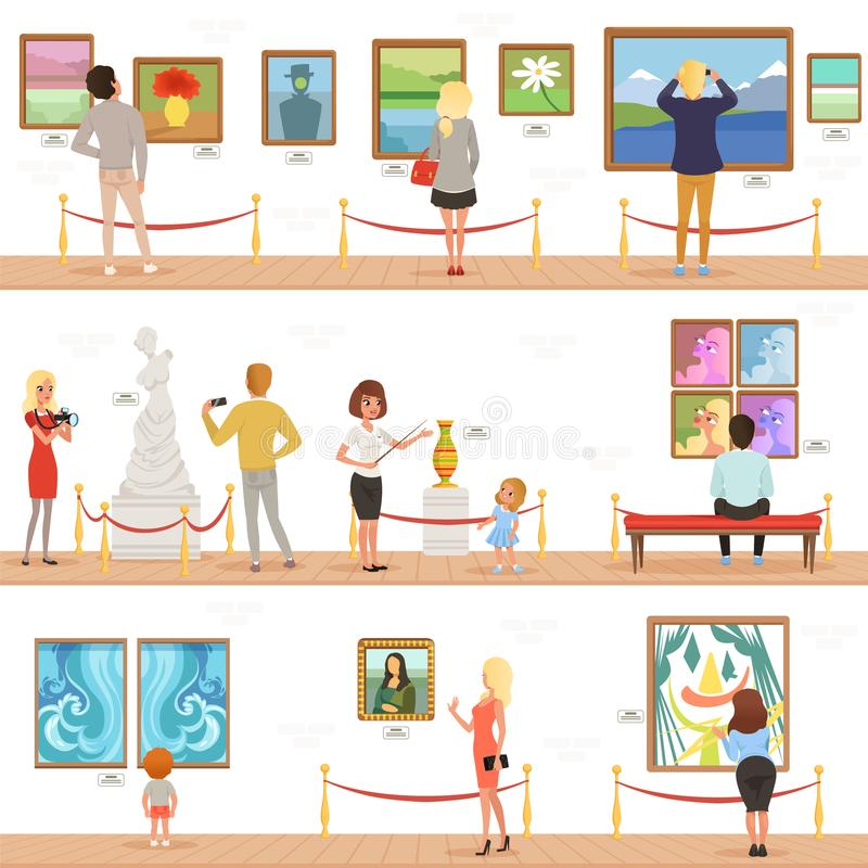 Visitantes de la historieta y caracteres lindos de la guía en museo de arte La gente admira pinturas y esculturas en la galería stock de ilustración