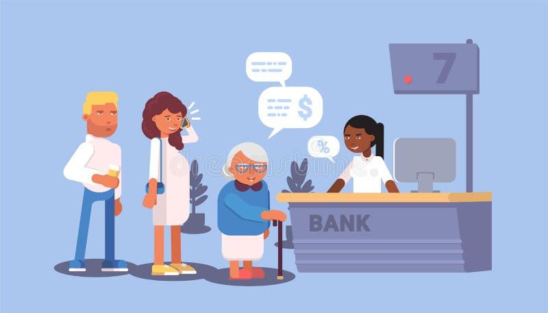 Visitantes del banco en el ejemplo del vector de la historieta de la cola stock de ilustración
