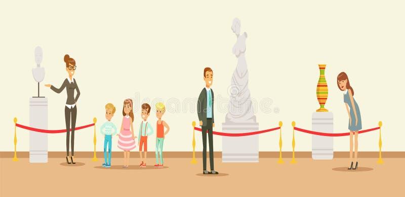 Visitantes do museu que olham a obra de arte clássica, guia do museu que diz crianças ilustração royalty free