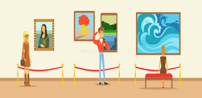 Visitantes do museu que olham a pintura que pendura na parede da galeria, museu de vista dos povos ilustração royalty free