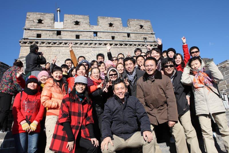 Visitantes en la Gran Muralla fotografía de archivo