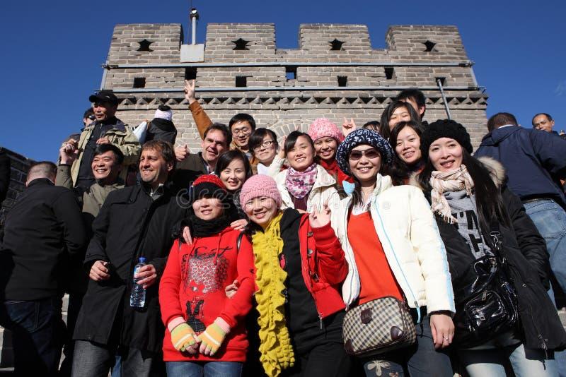 Visitantes en la Gran Muralla imagenes de archivo