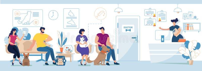 Visitantes veterinarios de la clínica con vector plano de los animales domésticos stock de ilustración