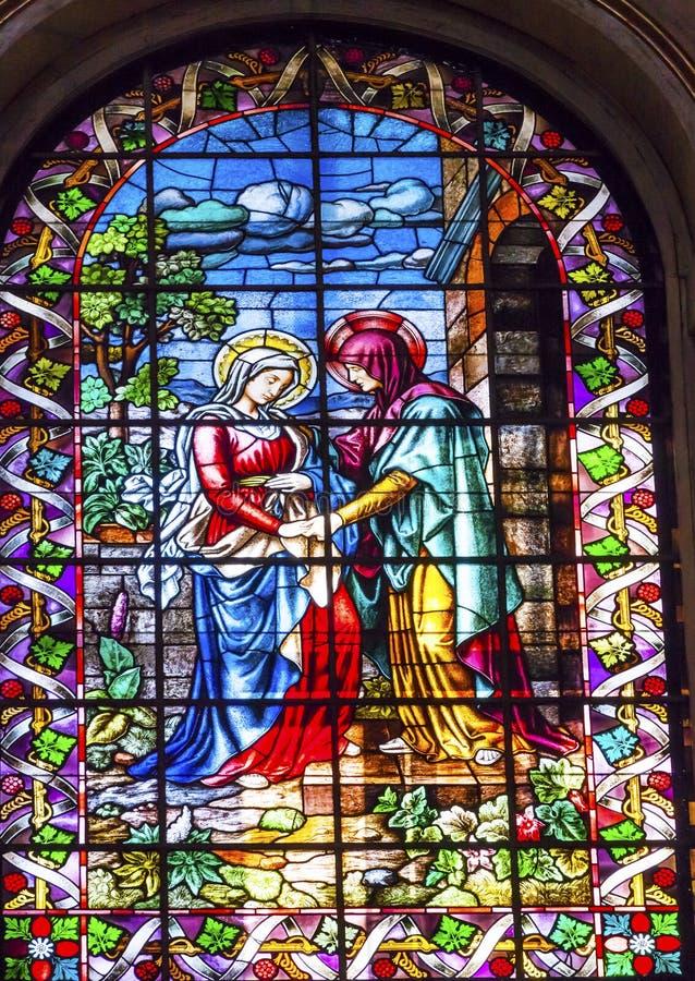 Visitation Mary Elizabeth Stained Glass San Francisco Gr Grande royalty-vrije stock afbeeldingen