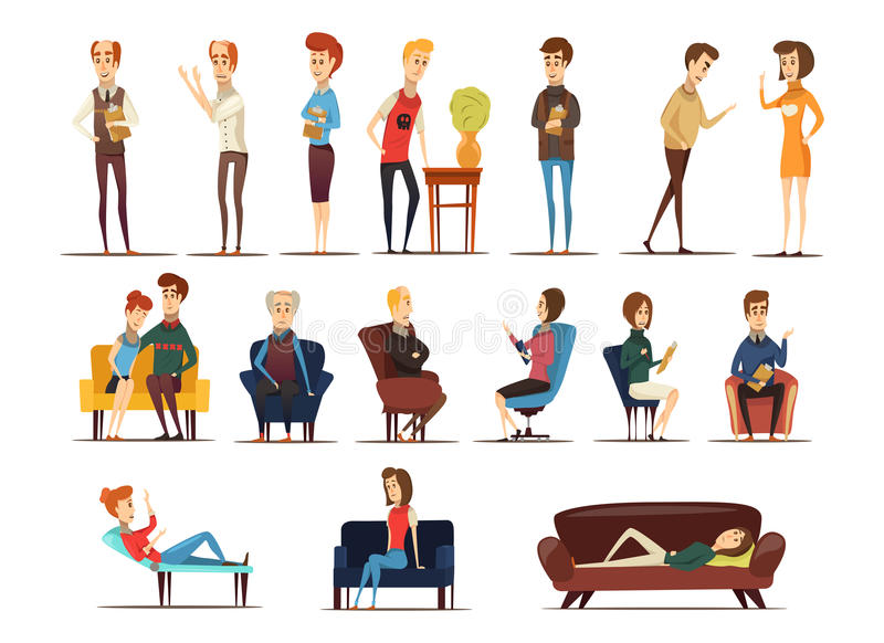 Visite au psychologue Set illustration de vecteur