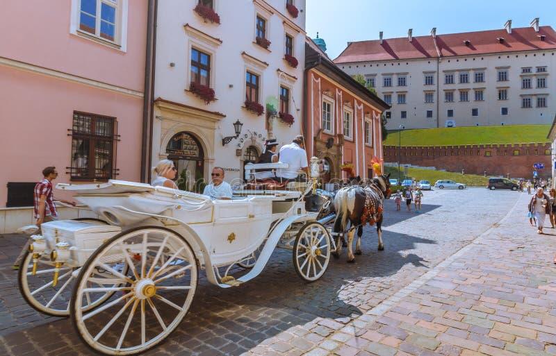 Visite de chariot de cheval de Cracovie (Cracovie) - Pologne au château de Wawel photographie stock libre de droits